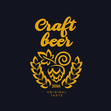 Vector set of vintage craft beer, alcohol, ale, brewery, bar, shop emblems and label. Branding identity corporate logo design template. Isolated on a black background