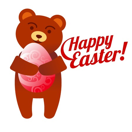 Vector flat illustration. Happy easter. Easter eggs and teddy bear cartoon characters. Web graphics, banners, advertisements, brochures, business templates. Isolated on a white background.