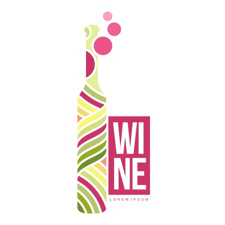 wineglass: Wine logo templates. Bottle, glass, bunch of grapes. Vintage style wine badges and labels. Black and white logo templates for your design. Vector illustration isolated on white background. Illustration