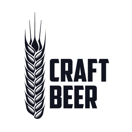 overhead: Vector set of vintage craft beer, alcohol, ale, brewery, bar, shop emblems and label. Branding identity corporate logo design template. Isolated on a black background