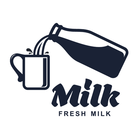 skim: Milk elegant vector logo template. Label, sticker, icon. Symbol for milk and skim. Web graphics, banners, advertisements, brochures, business templates. Isolated on a white background