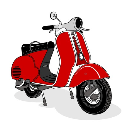 Vector illustratie van vintage scooter. Emblemen en label. Scooter populair vervoermiddel in een moderne stad. Advertenties, brochures, zakelijke sjablonen. Geïsoleerd op een zwarte achtergrond Stock Illustratie