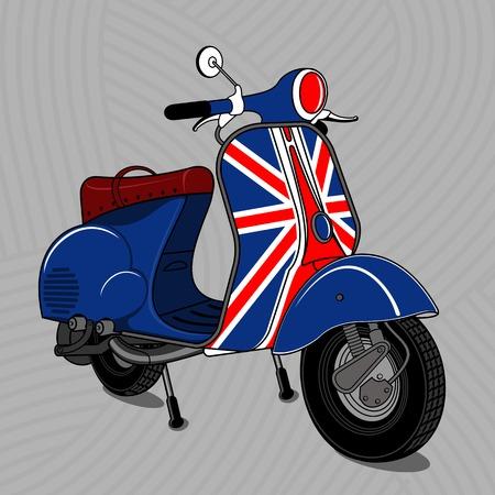 Illustration vectorielle de scooter vintage. Emblèmes et étiquette. Scooter moyen de transport populaire dans une ville moderne. Publicités, brochures, modèles d'affaires. Isolé sur un fond noir