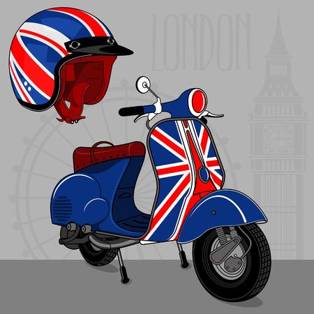 Ilustración vectorial de scooter vintage. Emblemas y etiqueta. Scooter medio de transporte popular en una ciudad moderna. Anuncios, folletos, plantillas de negocios. Aislado en un fondo negro