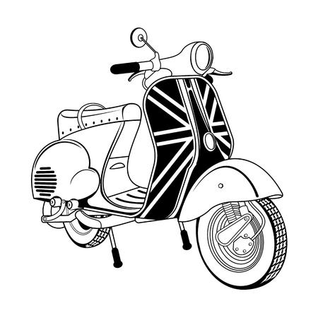 Ilustración vectorial de scooter vintage. Emblemas y etiqueta. Scooter medio de transporte popular en una ciudad moderna. Anuncios, folletos, plantillas de negocios. Aislado en un fondo negro Ilustración de vector