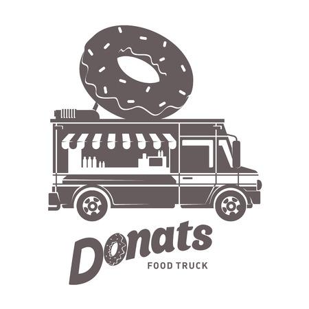 starve: Food truck logo vector illustration. Vintage style badges and labels design concept for food delivery service vehicles. Black and white logo templates for your design. Isolated on a white background