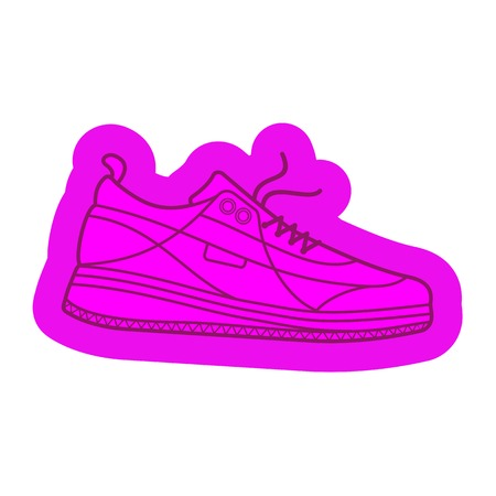 Vector illustration of sneakers. Sports shoes in a line style. Advertisements, brochures, business templates. Isolated on a white background