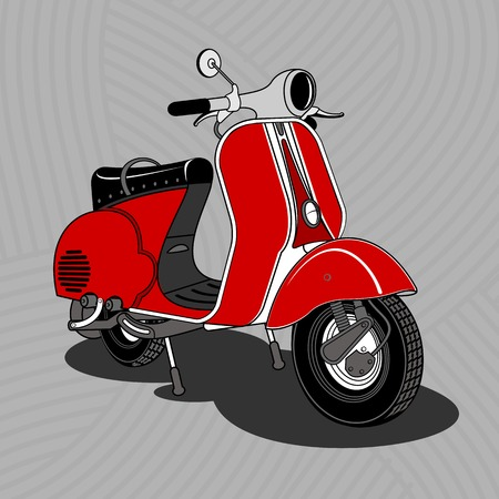 Vector illustration of vintage scooter. Emblems and label. Scooter popular means of transport in a modern city. Advertisements, brochures, business templates. Isolated on a color background