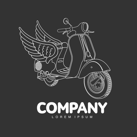 Elegant vintage scooter logo templates. Vintage style vintage scooter badges and labels. Black and white logo templates for your design. Vector illustration isolated on a color background Illustration