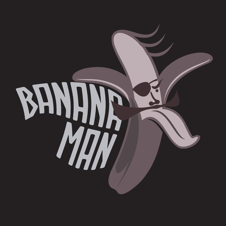 peeled: Cartoon peeled banana logo templates. Banana hipster man. Vintage style banana badges and labels. Black and white logo templates for your design. Vector illustration isolated on white background.