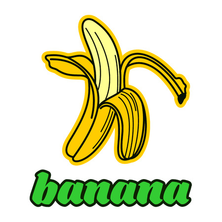 peeled: Peeled banana logo templates. Vintage style banana badges and labels. Black and white logo templates for your design. Vector illustration isolated on white background.