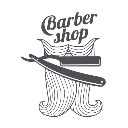 comb hair: Barber shop logo templates. Hair, beard, razor, scissors, comb. Vintage style wine badges and labels. Black and white logo templates for your design. Vector illustration isolated on white background.