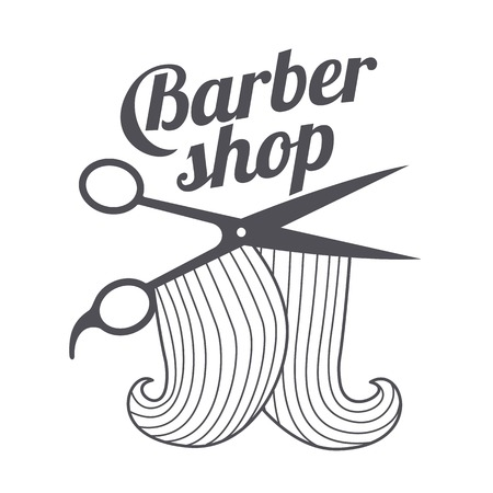 male grooming: Barber shop logo templates. Hair, beard, razor, scissors, comb. Vintage style wine badges and labels. Black and white logo templates for your design. Vector illustration isolated on white background.