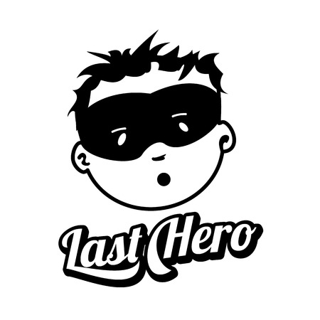 Young masked super man face expression, vector logo isolated on white background. Vintage style man face badges and labels. Black and white logo templates for your design. Illustration