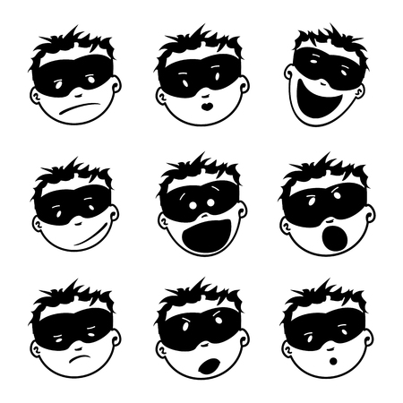 Young Masked Super Man Face Expression Set Of Cartoon Vector