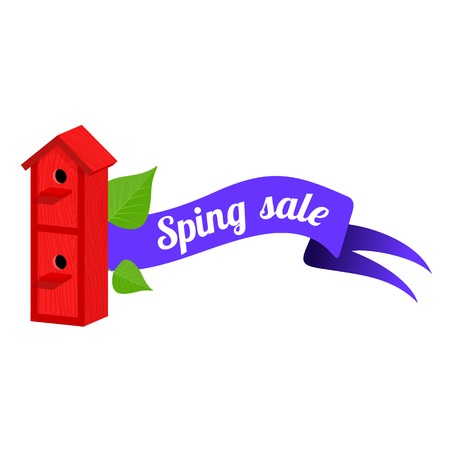 thaw: Spring vector sales banner with wooden birdhouses. Web graphics, banners, greeting card, ad, promotion, poster, flier, blog, article, social media marketing Isolated on a white background