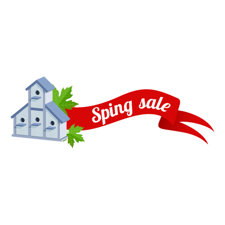 article marketing: Spring vector sales banner with wooden birdhouses. Web graphics, banners, greeting card, ad, promotion, poster, flier, blog, article, social media marketing Isolated on a white background
