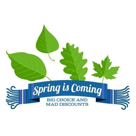 article marketing: Spring vector sales banner With a scarf and green leaves. Web graphics, banners, greeting card, ad, promotion, poster, flier, blog, article, social media, marketing. Isolated on a white background
