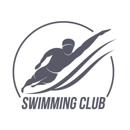수영 클럽 로고 템플릿. 피트 니스, 에어로빅, 체육관에서 운동 운동. 스포츠 배지 및 라벨. 귀하의 디자인에 대 한 흑인과 백인 로고 템플릿. 벡터 일러스트 레이 션 흰색 배경에 고립.