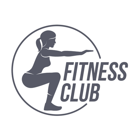 Fitness club logo templates. Fitness, Aerobic, workout exercise in gym. Sport badges and labels. Black and white logo templates for your design. Vector illustration isolated on white background.  イラスト・ベクター素材