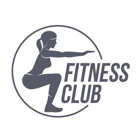 Plantillas de logotipo del club de fitness. Fitness, Aerobic, ejercicios de ejercicio en el gimnasio. Insignias y etiquetas deportivas. Plantillas en blanco y negro del logotipo para su diseño. Ilustración vectorial aislados sobre fondo blanco.