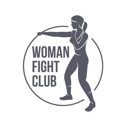 Fight club logo templates. Fitness, Aerobic, workout exercise in gym. Vintage sport badges and labels. Black and white logo templates for your design. Vector illustration isolated on white background. Çizim