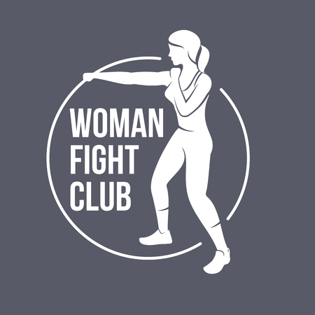 Fight club logo templates. Fitness, Aerobic, workout exercise in gym. Vintage sport badges and labels. Black and white logo templates for your design. Vector illustration isolated on color background.