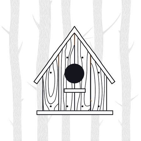 thaw: Spring vector illustration with wooden birdhouses. Trees, tree buds, thaw, birds. Web graphics, banners, advertisements, brochures, business templates. Isolated on a white background Illustration