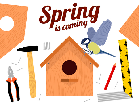 Spring vector illustration with wooden birdhouses. Trees, tree buds, thaw, birds. Web graphics, banners, advertisements, brochures, business templates. Isolated on a white background Illustration