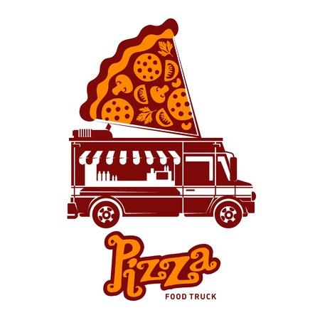 international truck logo vector. food truck logo pizza vector illustration vintage style badges and labels international