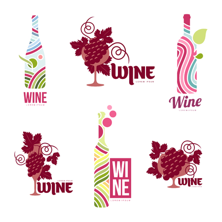 Set wine logo templates. Bottle, glass, bunch of grapes. Vintage style wine badges and labels. Black and white logo templates for your design. Set vector illustration isolated on white background.