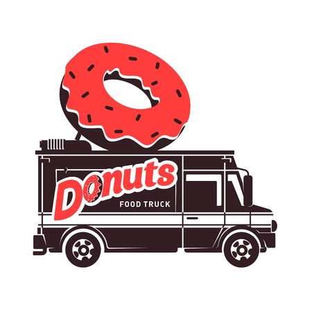 Donuts food truck logo vector illustration. Vintage style badges and labels design concept for food delivery service vehicles. Two tone logo templates for your design. Isolated on a white background