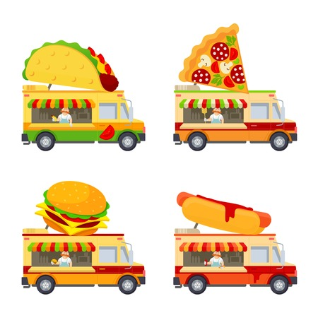 Food truck vector flat illustration. Modern design concept compositions for food delivery service vehicles. Web graphics, advertisements, brochures, business templates. Isolated on a white background