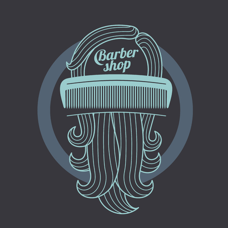 male grooming: Barber shop logo templates. Hair, beard, razor, scissors, comb. Vintage style wine badges and labels. Black and white logo templates for your design. Vector illustration isolated on color background.