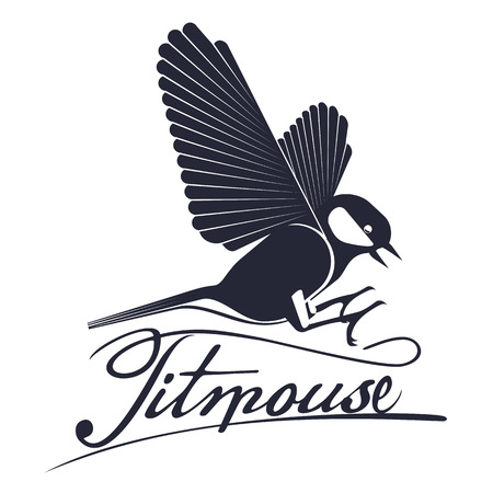 Bird titmouse vector logo, label, element. Trees, tree buds, thaw, birds. Web graphics, banners, advertisements brochures business templates Isolated on a white background Illustration