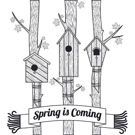 thaw: Spring vector card with wooden birdhouses. Trees, tree buds, thaw, birds. Web graphics, banners, advertisements, brochures, business templates. Isolated on a white background Illustration