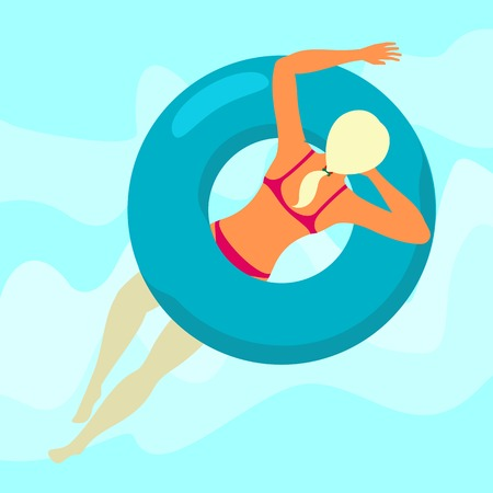 Young woman resting on floating blue rubber ring on swimming pool water background. Summer rest. Sea vacation. Web graphics, banners, brochures, business templates. Vector flat illustration.