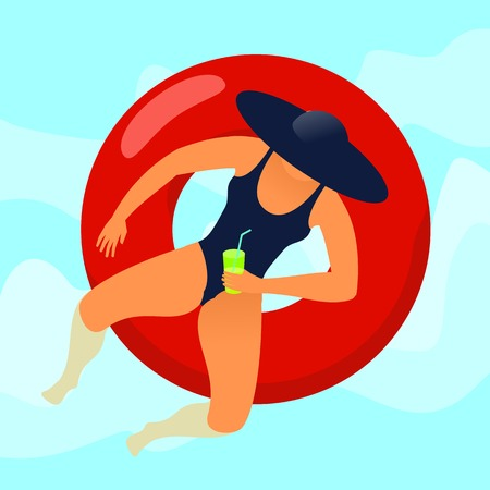 rubber ring: Young woman resting on floating red rubber ring on swimming pool water background. Summer rest. Sea vacation. Web graphics, banners, brochures, business templates. Vector flat illustration.