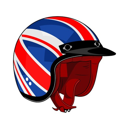 Vector illustration of motorcycle helmet. Emblems and label. Trendy vintage helmet for drivers of motorcycles and scooters, popular means of transport in a modern city. Isolated on a white background