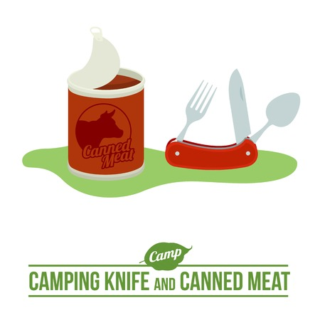 Camping background with tourist knife and canned meat outdoor vector flat icon. Web graphics, banners, advertisements, brochures, business templates. Isolated on a white background