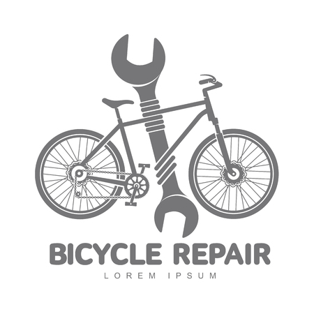 Bicycle repair workshop vector logo template for your design. Bike repair badges, labels, banners, advertisements, brochures, business templates. Vector illustration isolated on white background
