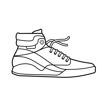 shoelace: Vector illustration of sneakers. Sports shoes in a line style. Advertisements, brochures, business templates. Isolated on a white background