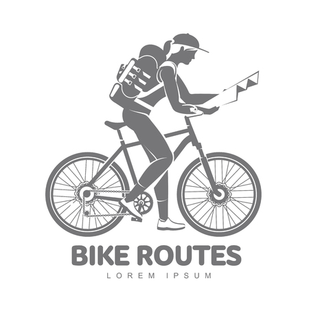 Bicycle Routes Vector Logo Template For Your Design. Bike Travel ...