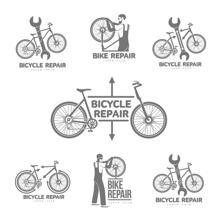 Bicycle Repair Workshop Vector Set Logo Template For Your Design ...