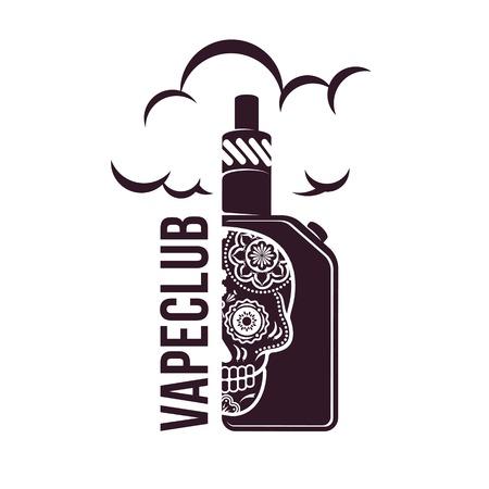 Vape, e-cigarette emblems, labels, prints and logo. Vector vintage illustration. Isolated on white background. Illustration