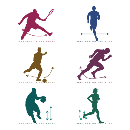 Vector illustration of silhouette of an athlete. Tennis player, football player, runner, basketball player. Advertisements, brochures, business templates. Isolated on a white background