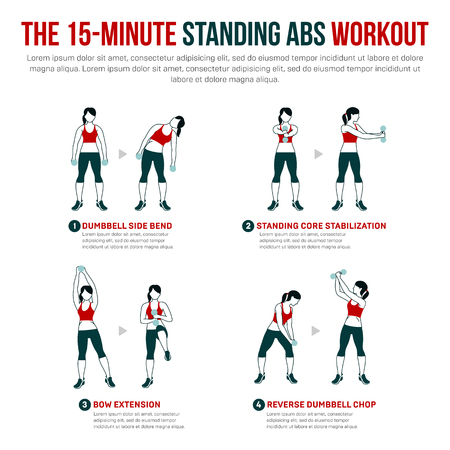 15 minute standing abs workout. Fitness, Aerobic and workout exercise in gym. Vector set of gym icons in flat style isolated on white