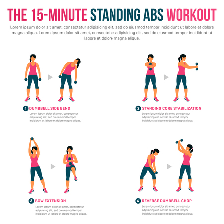 15 minute standing abs workout. Fitness, Aerobic and workout exercise in gym. Vector set of gym icons in flat style isolated on white background.