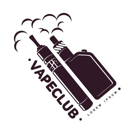 Vape, e-cigarette emblems, labels, prints and logo. Vector vintage illustration. Isolated on white background. Ilustração