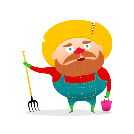 Vector illustration of a funny farmer working in the garden. Fork and bucket. artoon vector illustration isolated on white background. Comic farmer character, design elements.
